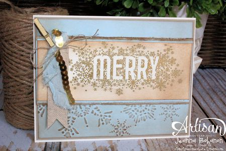 Seasonally Scattered Gold Merry Card Jeanna Bohanon