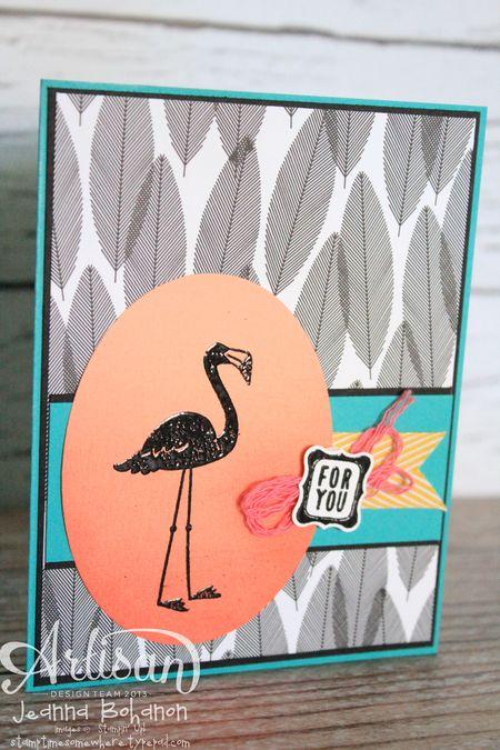 Flamingo Lingo Ombre Ronald McDonald House Stampin' Up! card by Jeanna Bohanon