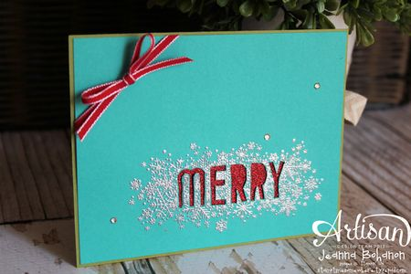 Seasonally Scattered Silver Merry Card  Jeanna Bohanon