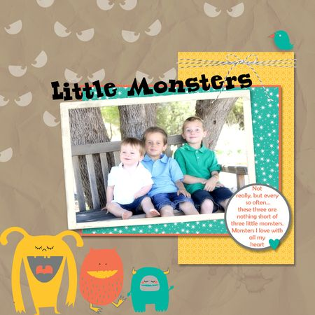 Little Monsters scrapbook page - My Digital Studio Jeanna Bohanon