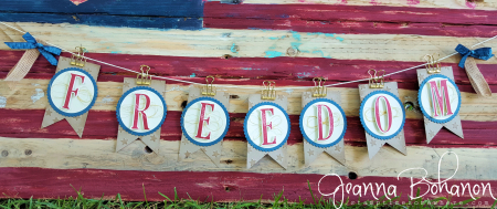 #TGIFC62 Large Letters 4th of July Patriotic Banner - Stampin' Up! Jeanna Bohanon 1