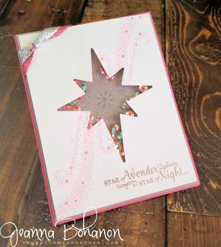 #TGIFC73 Stampin' Up! Star of Light shaker card Jeanna Bohanon