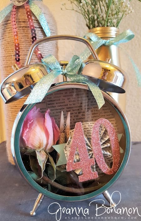 40th birthday clock Jeanna Bohanon Stampin' Up! Tim Holtz