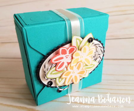 OSAT Blog Hop - Stampin' Up! Watercolor Words gift box by Jeanna Bohanon