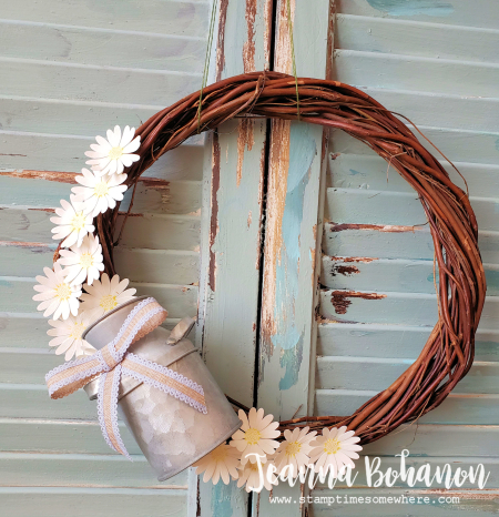 OSAT Down on the Farm Stampin' Up! Daisy Lane wreath by Jeanna Bohanon