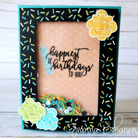 #tgifc206 Stampin' Up! Picture Perfect Birthday shaker card by Jeanna Bohanon