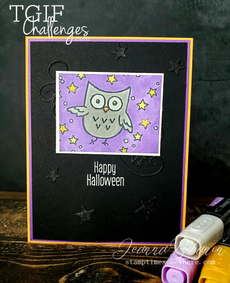 #tgifc234 Stampin' Up! Hoot Hoot Hooray Halloween card by Jeanna Bohanon