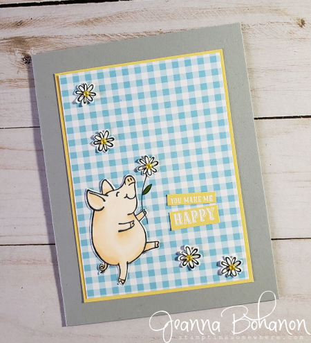 #tgifc213 Stampin' Up! Gingham Gala This Little Piggy by Jeanna Bohanon (2)